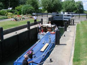 Boats passing through the lock
